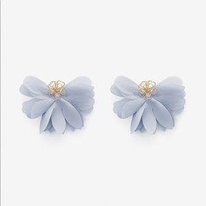 EXPRESS Women Fabric Petal Flower Earrings Blue